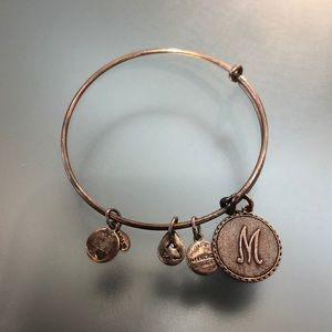 "Alex and Ani silver ""M"" charm bracelet"